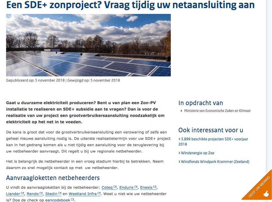 SDE, Subsidie, zonnepanelen